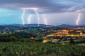Storm over the Monts du Lyonnais and Maconnais - France  ; Superposition of three pictures of 25 seconds equivalent to a period of 1 minutes 25 seconds.