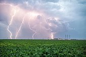Single cell thunderstorm over the countryside - France ; 3 photos overlay of 0.4 seconds with the aid of a flash detector.