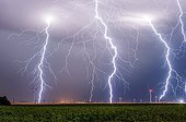 Lightning and wind in the eveningin  countryside - France ; Locally strong thunderstorms with numerous lightning strikes. Some affected wind turbines and electric poles.