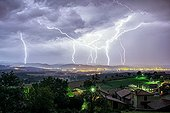 Successive storms over a city - Auvergne France ; Many impacts of positive polarity occurred that night.
