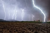 Storm in a very powerful Cevennes episode - France  ; An impact is 30 meters from the photographer. Three ascending tracers have occurred.<br>We see the main plotter in the lightning channel.<br>Rare and exceptional picture.<br>Overlay 10 photos 30 seconds.