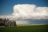 Silos and Storm cold air over the countryside - France