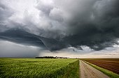 Supercell storm over the countryside - France ; A mature cloud forms.