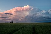 Supercell storm over the countryside - France  ; Back of the supercell that departs