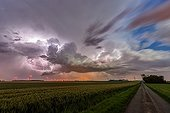 Lightning and wind in the evening countryside - France