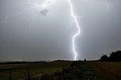 Impact de foudre dans la campagne en été - France ; La foudre est à 4 kilomètres du photographe. Impact de foudre avec de grands éclairs internuageux.