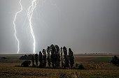 Impacts de foudre dans la campagne en été - France