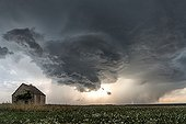 Storm over the countryside in summer - France ; A monumental mature cloud forms. Raised great hail.
