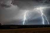 Orage et éclairs au dessus de la campagne en été - France ; Impacts de foudre multiples et ramifiés.