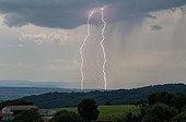 Orage monocellulaire et foudre multiple en été - France