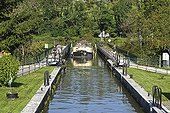 Barge on the canal bridge crossing the River Allan - France