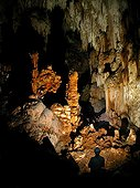 Exploring a cave - Karst Maros Sulawesi Indonesia ; In October 2014, the cave paintings found in caves in the limestone massif have been recognized as one of the oldest in the world (- 39 000 years) by a team of US researchers.