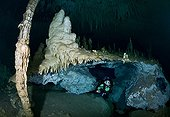 Scuba Diver in the Zapote Dreamgate - Yucatan Mexico ; Scuba diver explores a freshwater-filled cavern accessible via a cenote (a sinkhole) in the jungle. This underground chamber is richly decorated with beautiful stalactites, stalagmites and columns, delicate limestone formations called speleothems created over millions of years