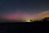 Aurora borealis seen in France ; Night of the 17 march 2015 after a solar eruption Kp 8.5