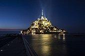 High tide at Mont Saint-Michel at night - France
