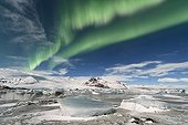Aurora borealis on glacial lake in winter - Iceland