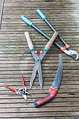 Pruning tools on a wooden garden table
