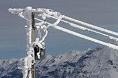 Ice electric pylon - Bauges Alpes France