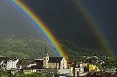 Rainbow after a storm on Seyssel city - Bugey France