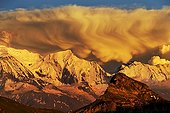 Storm clouds at sunset on the Mont Blanc Massif - France ; Summer Storm in the evening, seen from the Upper Giffre (Desert Platé)
