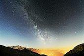 Milky Way above the Mont Blanc - Alps France  ; since Desert Platé, above Flaine