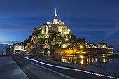 Large tide at Mont Saint-Michel at night - France