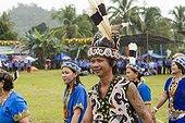 Man wearing Hornbill feather - Dayak Parade Borneo Indonesia ; Anniversary of Mahakam Hulu District<br>WWF-Indonesia