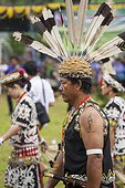 Man wearing feather hornbill during Parade Dayak - Indonesia ; Anniversary of Mahakam Hulu District<br>WWF-Indonesia