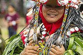 Man wearing mask and feather hornbill - Parade Hudoq  ; Tribal culture performance<br>Anniversary of Mahakam Hulu District<br>WWF-Indonesia