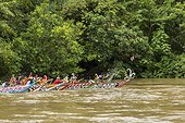Traditional boat race on 	Mahakan River - Borneo Indonesia ; Anniversary of Mahakam Hulu District<br>WWF-Indonesia