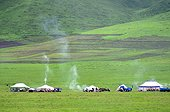 Tibetan nomadic herders camp - Tibet China