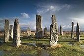 Circle Callanish standing stones in winter - Lewis Hebrides ; Monoliths prepared in gneiss Lewis, erected about 2000 years BC.
