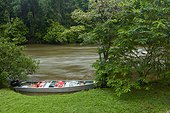 Scientists canoe on the shore - Nature Reserve Nouragues - French Guianae