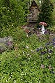 Columbine flowers and mushroom sculpture, Garden for Peace in Bitche , Lorraine, France