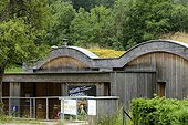 House of the nature of Château- Lambert hamlet managed by the Regional Park of Ballons des Vosges , construction building HQE ( High Environmental Quality) with green roof , Space Nature and Culture, Haut-du-Them-Château-Lambert , Franche-Comté, France