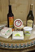 Regional products : Wine, Butter, Cream, Cancoillotte ,, Raw milk cheese Le P'tit René and Comté wheele , Cave refining, Cheese Cooperative Plateau of Bouclans, Outlet in Nancray, Haut-Doubs, Franche-Comté, France
