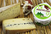 Tomme with Ramson , The Montbéliard and Morbier : Montbéliardes cows milk cheeses made at the cheese cooperative of Montbeliard, Franche-Comte, France