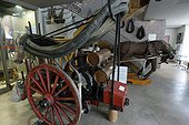 1890 motor pump pulled by a horse, Relais Museum of horse Comte and forest, Levier , Haut-Doubs, Franche-Comté, France