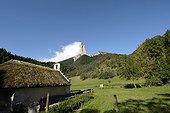 Romanesque chapel with a thatched roof, renovated in 2001 and Mont Aiguille, Hamlet Trézanne , Vercors Regional Natural Park , Saint-Martin-de-Clelles , Rhone- Alpes , France