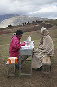 Medical consultation in the Simien Mountains in Ethiopia by the Simien Mountail Medical Mobile Services Association.
