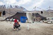 Boy washing his hands in an encampment, Surroundings of Korzok, Leh, Ladakh, Himalayas, India