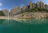 Spain, Aragon, province of Huesca, Ribagorza, vertical limestone layers and Noguera Ribagorzana river. Limestone cliffs (sedimentary rock). Karstic landscape. Geological interest.