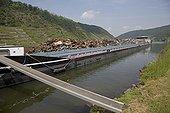 Large barge transporting scrap metal Hatzenport Mosel River Germany