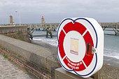 Lifeline in the port of Fecamp, Normandy, France