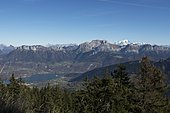 Lake Annecy and the massif of Tournette, in the background: the Mont-Blanc, Haute-Savoie, Alps, France