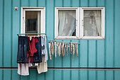 Drying of Cods and clothing in front of windows in Ilulissat, Greenland.
