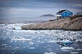 Coastal landscape in Ilulissat, Greenland.
