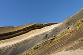 Layers of lapilli and volcanic sand on the slopes of the Teide volcano, Tenerife, Canary Islands, Spain