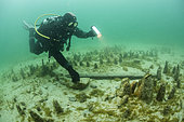 Archaeological excavations at a place of Roman worship in Lake Bourget, Savoie, France