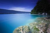 Landscape of Lake Annecy seen from the Nature Reserve of Roc de Chère, Haute-Savoie, France